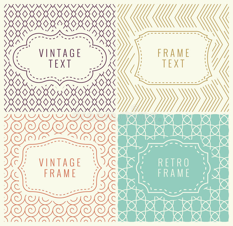 Retro Mono Line Frames with place for Text. Vector Design Template, Labels, Badges on Seamless Geometric Patterns. Minimal Texture