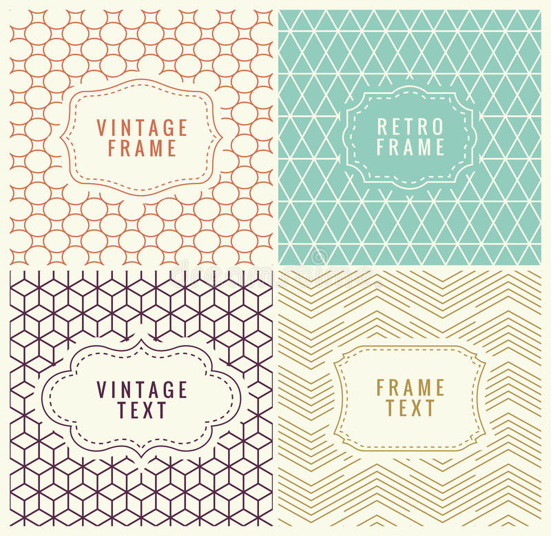 Retro Mono Line Frames with place for Text. Vector Design Template, Labels, Badges on Seamless Geometric Patterns. Minimal Textures vector illustration