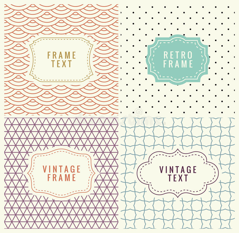 Retro Mono Line Frames with place for Text. Vector Design Template, Labels, Badges on Seamless Geometric Patterns. Minimal Textures. Frame with text royalty free illustration