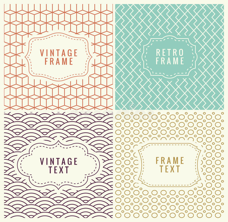 Retro Mono Line Frames with place for Text. Vector Design Template, Labels, Badges on Seamless Geometric Patterns. Minimal Textures. Seamless Vector vector illustration