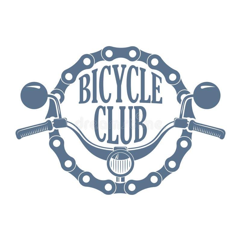 Retro monochrome bikes and scooters club logo stock illustration