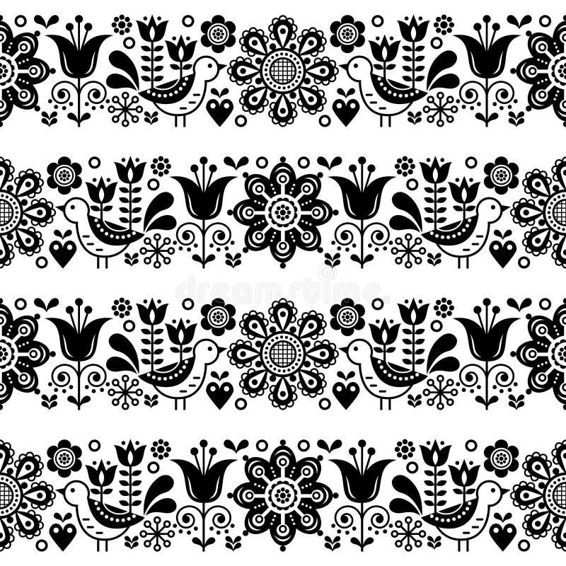 Folk art seamless vector floral pattern, Scandinavian black and white repetitive design, Nordic ornament vector illustration