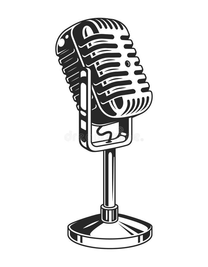 Retro monochrome music microphone concept royalty free illustration