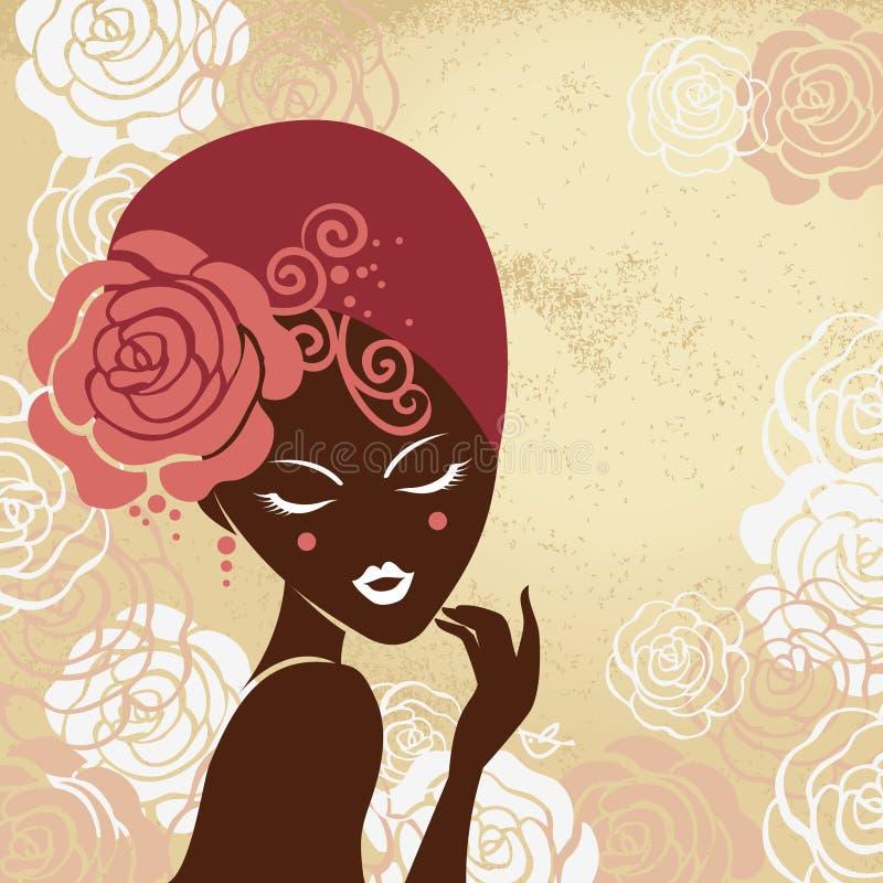 Retro mooi vrouwensilhouet royalty-vrije illustratie