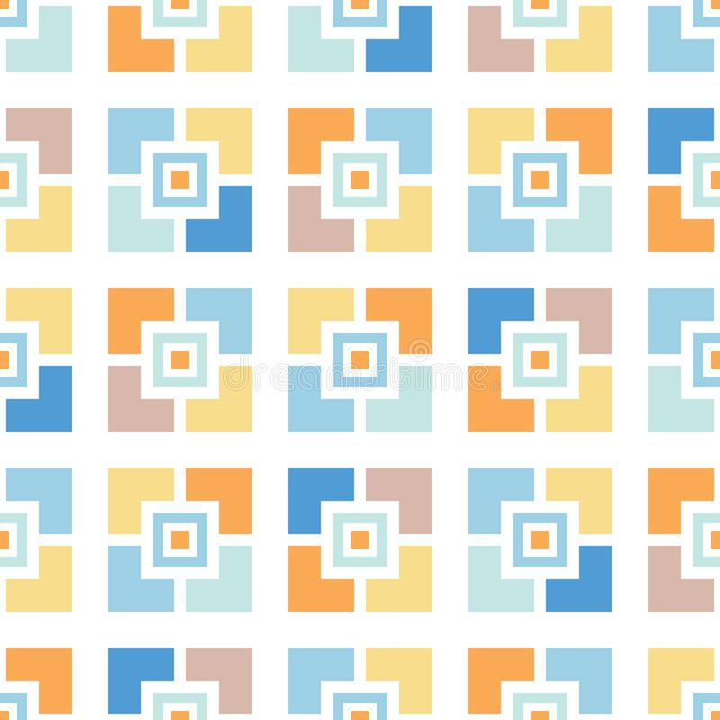 Retro Mosaics Tiles Vector Seamless Pattern. Whimsical Summer Pool Geo. Abstract Mid-Century Background stock illustration