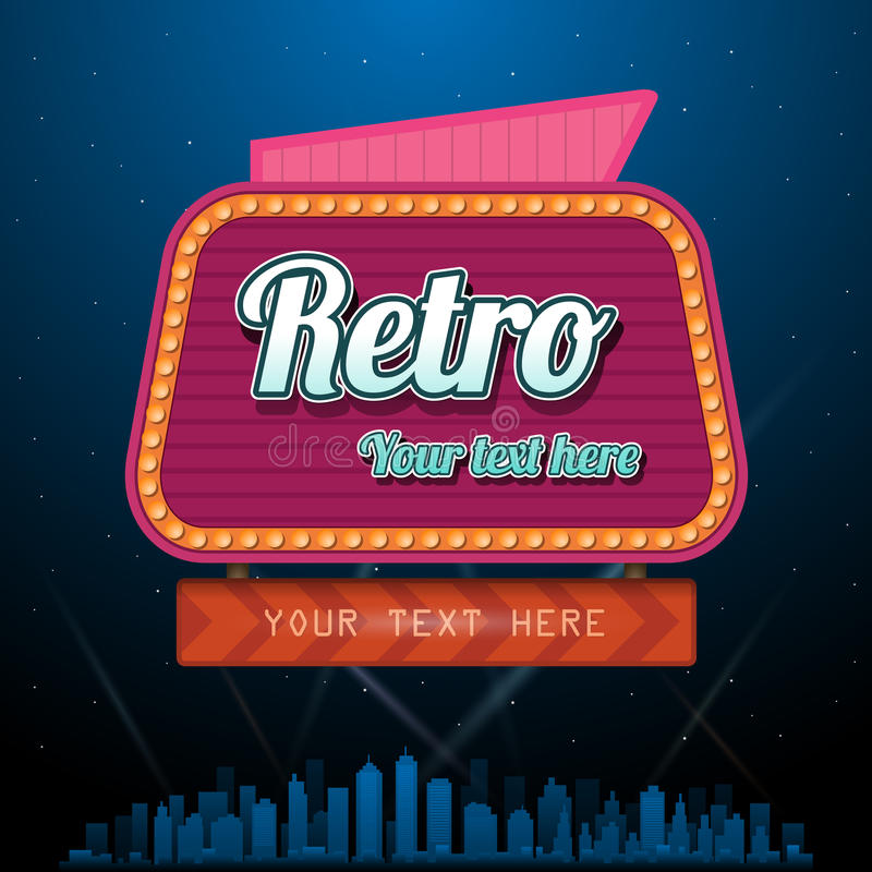 Retro motel sign with copyspace vector illustration
