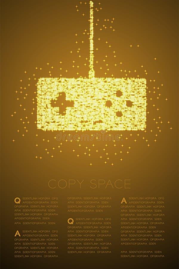Retro motivo a stelle brillante di Bokeh della particella di forma del joypad o di Gamepad, illustrazione di colore dell'oro di p illustrazione di stock