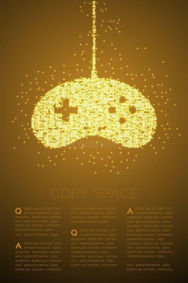 Retro motivo a stelle brillante di Bokeh della particella di forma del joypad o di Gamepad, illustrazione di colore dell'oro di p royalty illustrazione gratis