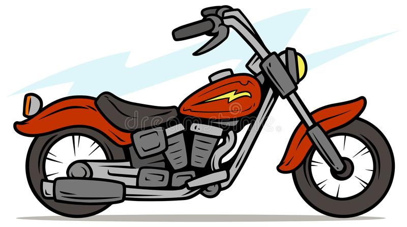 Retro motocicletta rossa del fumetto royalty illustrazione gratis