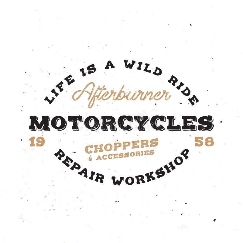 Retro motocyklu emblemat w rocznika stylu z grunge skutkiem ilustracji