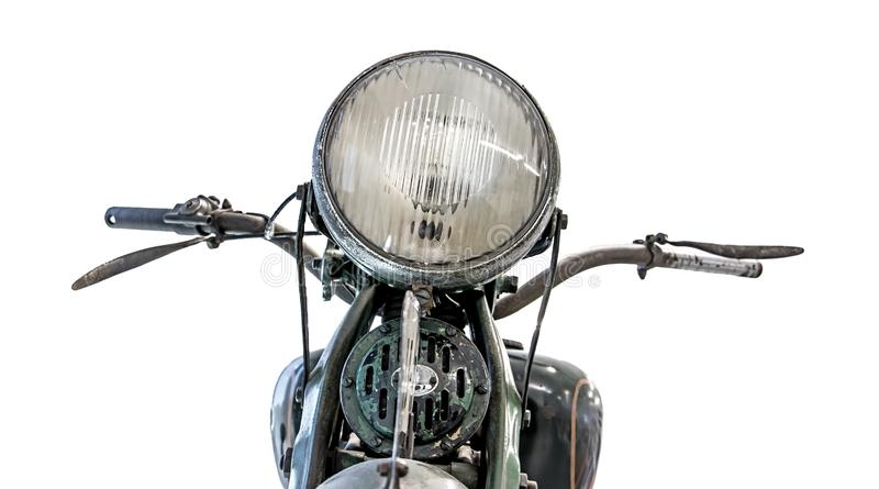 Retro motocyklu headlamp, handlebars i zdjęcia royalty free