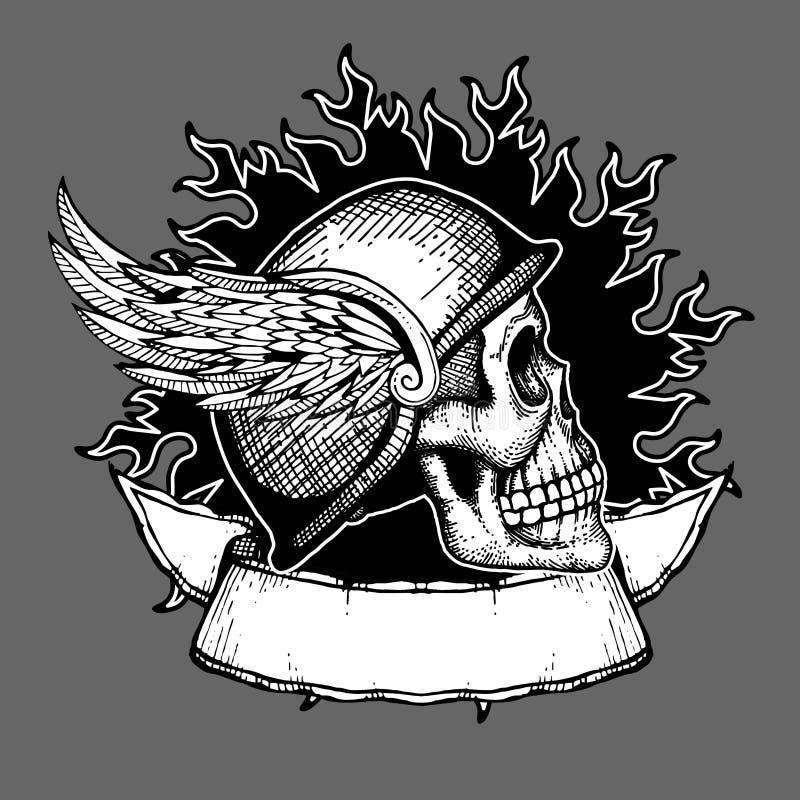 Retro motocyklu t projekta rowerzysty czaszki wektorowy koszulowy emblemat royalty ilustracja
