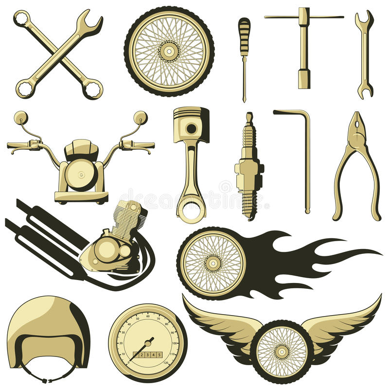 Retro Motor Parts. Vector illustration of retro motor parts stock illustration