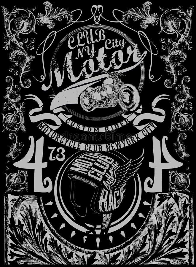 Retro motorcycl d'annata di stampa della maglietta di tipografia dell'illustrazione illustrazione vettoriale