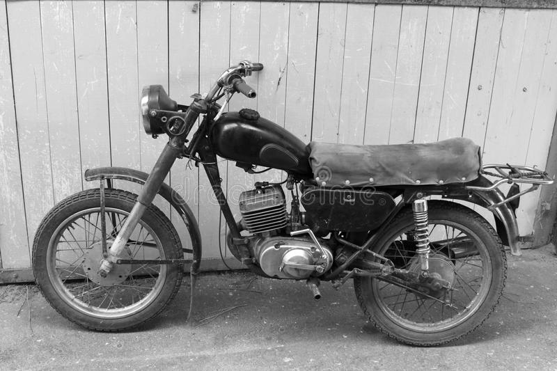 Download retro motorcycle black and white photo old vintage card stock image