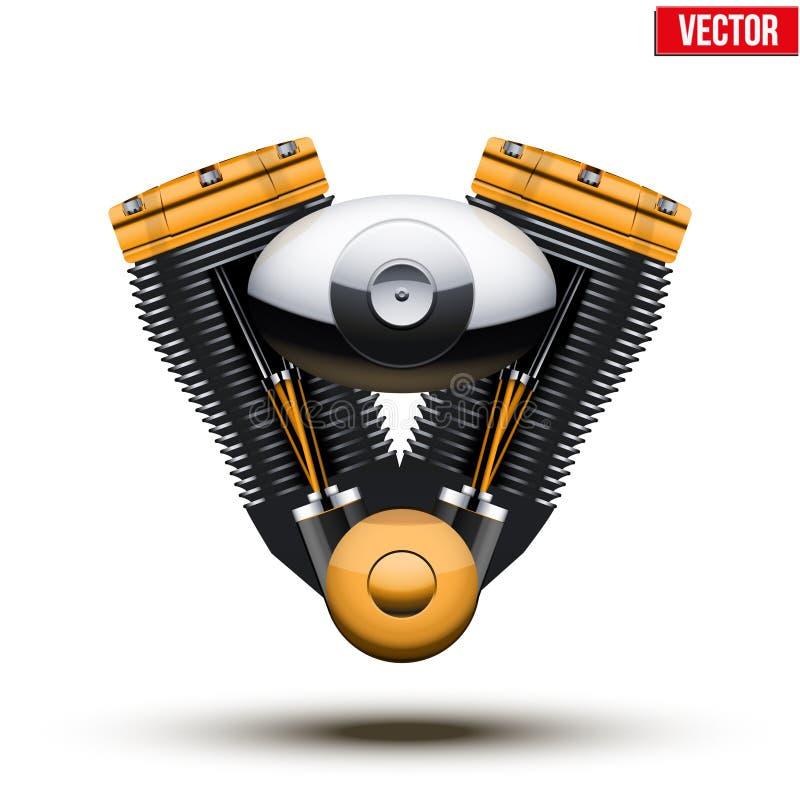 Retro motorcycle engine. Vector Illustration. royalty free illustration