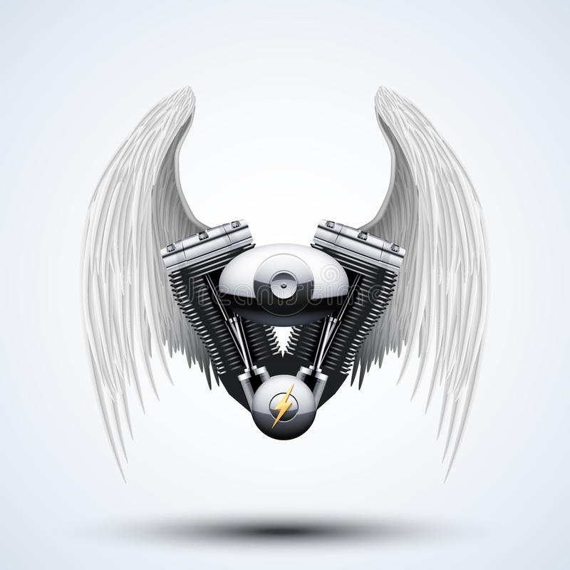 Free Retro Motorcycle Engine With White Folded Wings Stock Images - 50215224