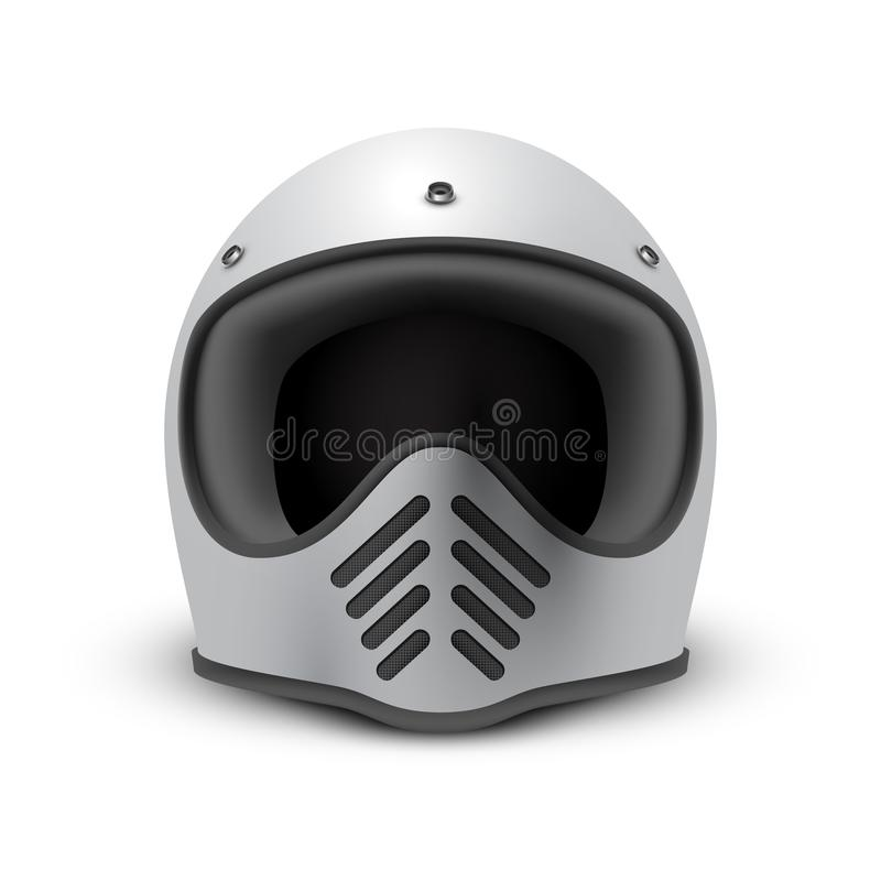 Retro motorcycle helmet on white background, front view royalty free stock photography