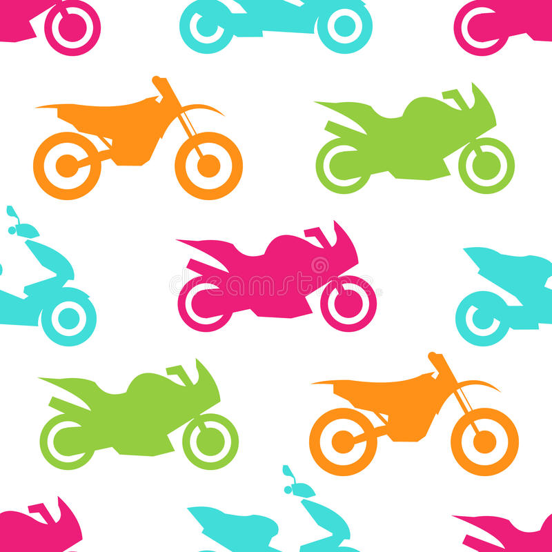 Retro motorcycle seamless pattern. Vector illustration for bike transport design. Bright vehicle, motorbike, scooter, chopper pattern. Bike wallpaper royalty free illustration