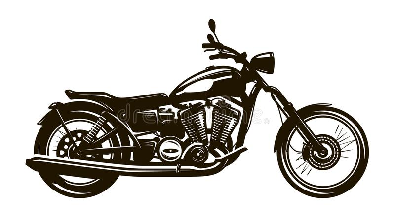 retro motorcykel Konturvektorillustration vektor illustrationer