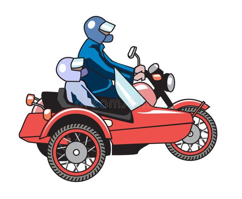 Retro motorcykel med sidecaren med två passagerare vektor illustrationer