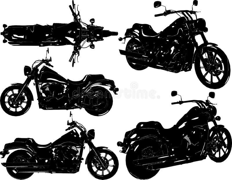 Retro motorcykelvektor för gammal stil isolerad white f?r bakgrundscogwheel illustration arkivbilder