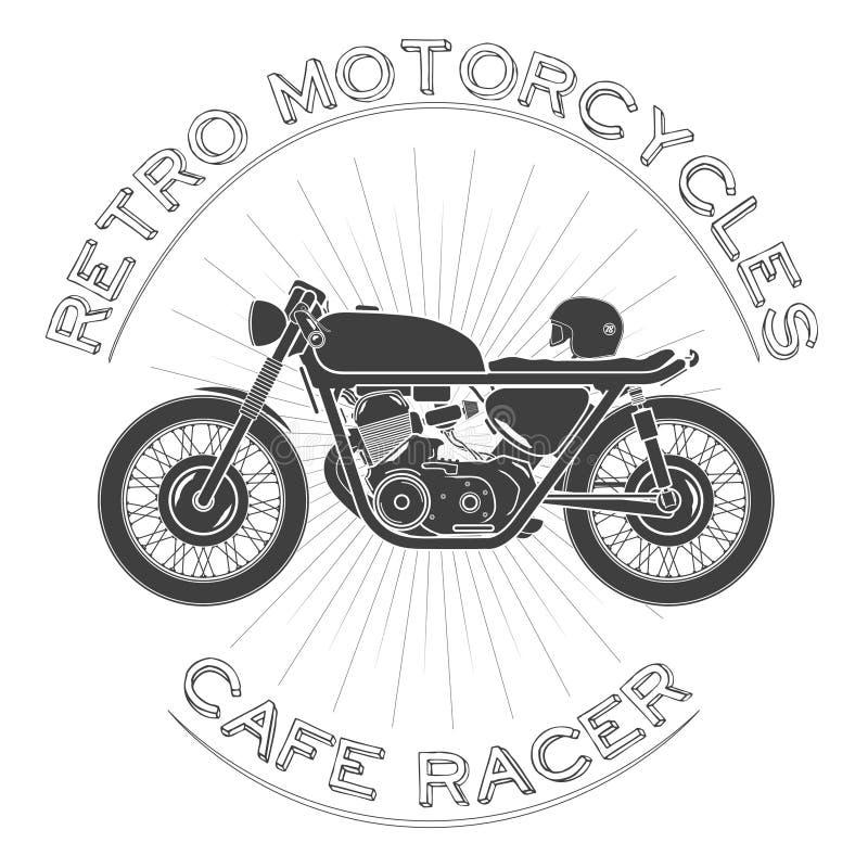 Retro motorfiets caferacer embleem royalty-vrije illustratie