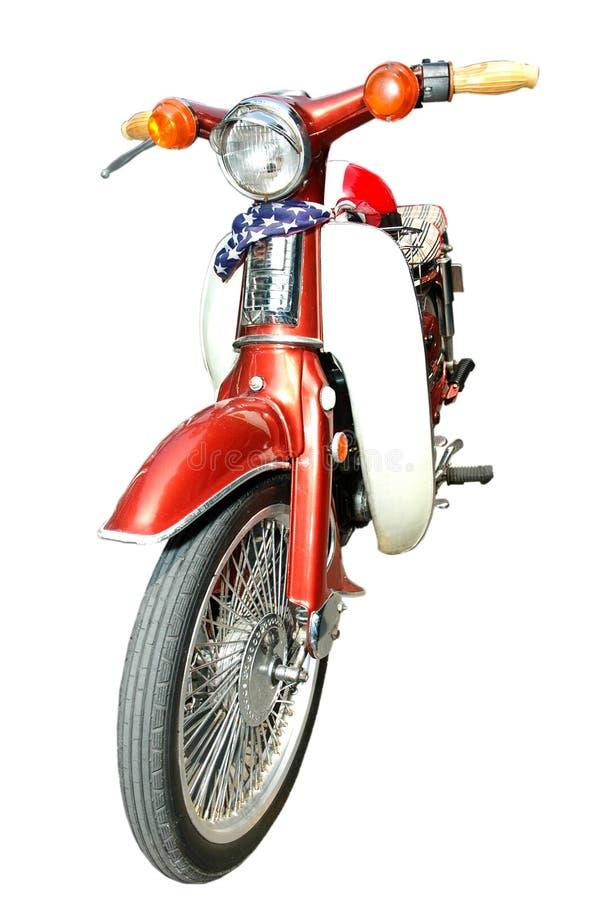 Retro Motorfiets op witte achtergrond wordt geïsoleerd die royalty-vrije stock foto