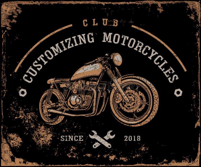 Retro motorfietsen, Raceauto, Oude motor, Vervoer royalty-vrije illustratie