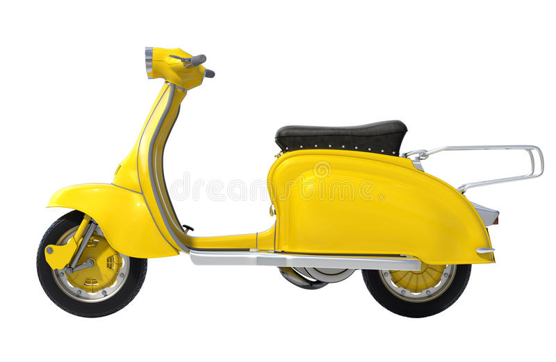 Retro motorino giallo immagini stock