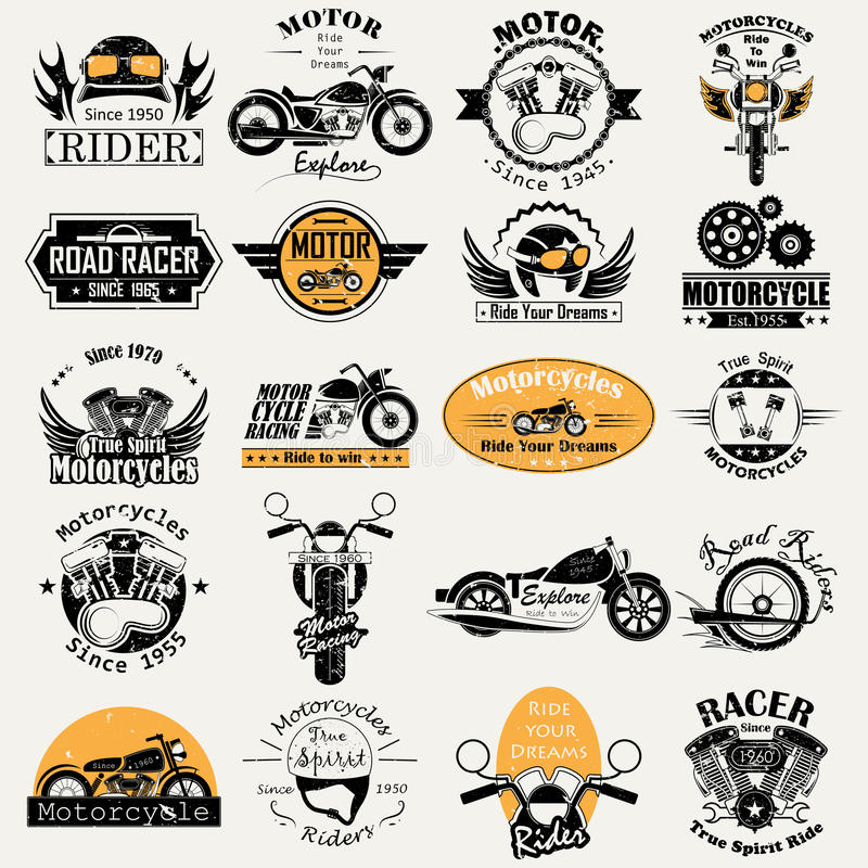 Retro Motorowy roweru setkarza etykietki etykietki majcher dla reklamy ilustracja wektor