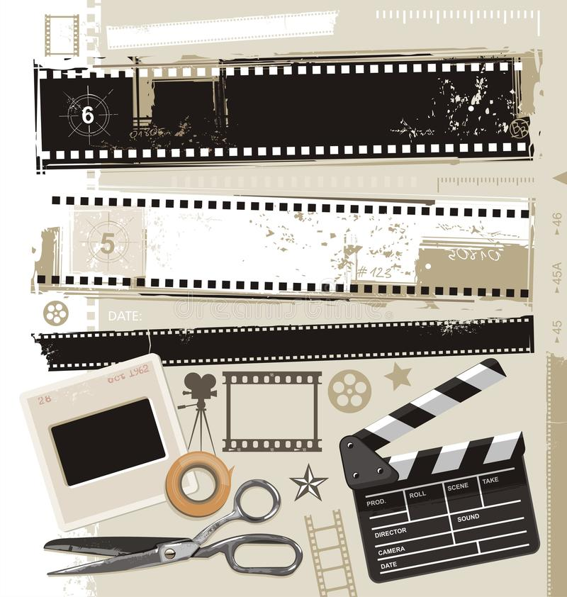 Retro movie, cinema and film vector design. Set of grungy filmstrips and other film related design elements. Retro movie, cinema and film vector design stock illustration