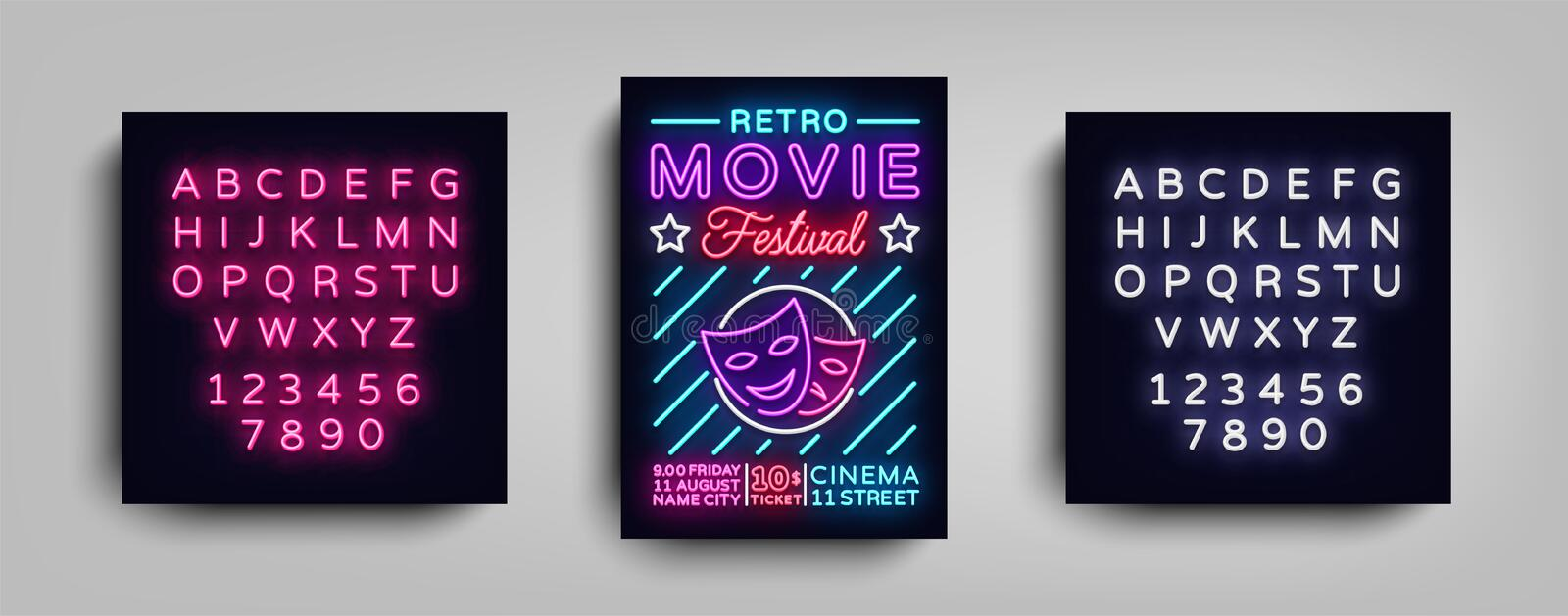Retro Movie Festival postcard typography design neon template. Brochure style neon, neon sign, poster, banner, night stock illustration