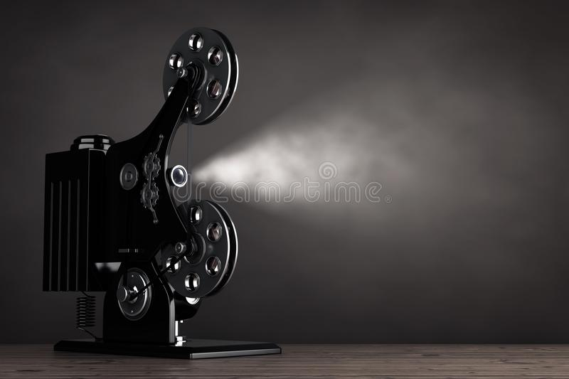 Retro Movie Film Cinema Projector. 3d Rendering vector illustration