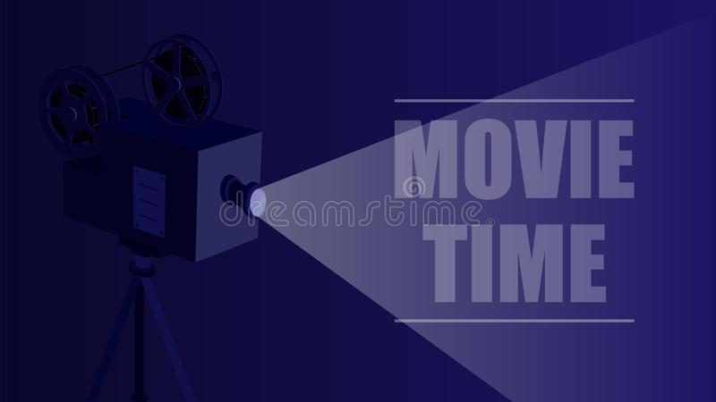 Retro movie projector on a black background. vector illustration