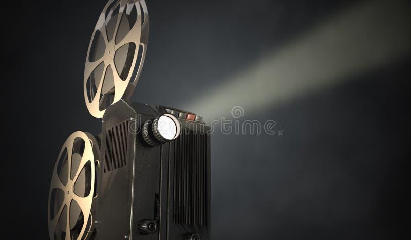 Retro movie projector on dark background. 3D rendered illustration.  vector illustration