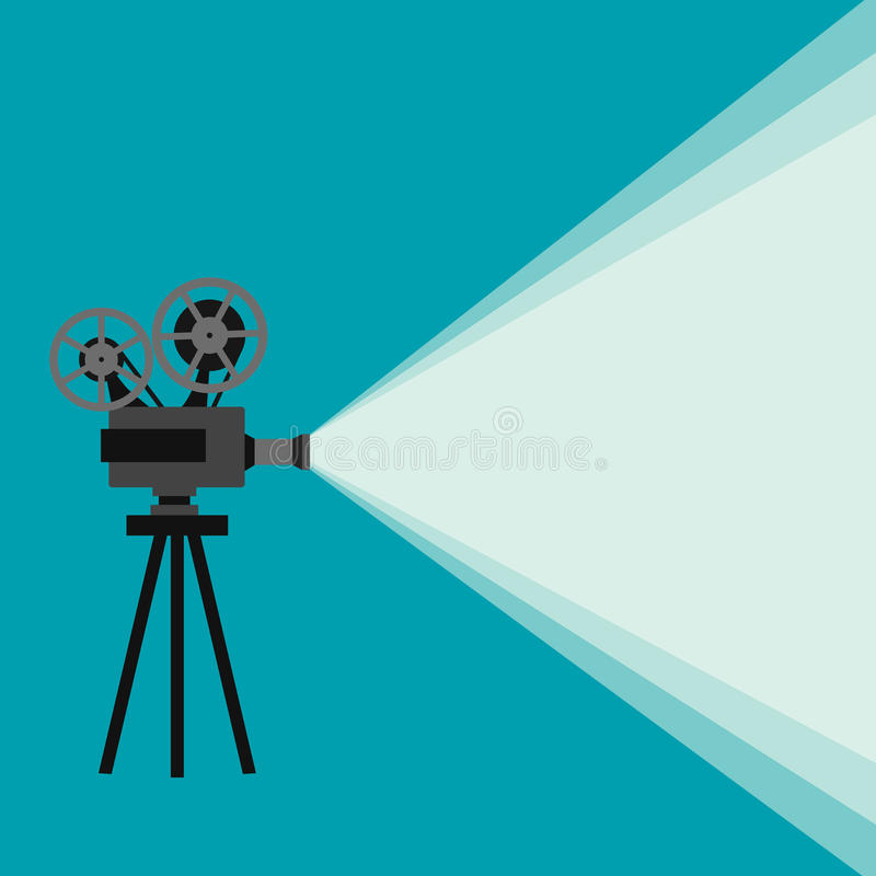 Retro movie projector. With different film reels made in vector royalty free illustration
