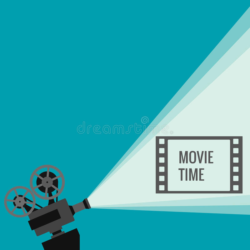 Retro movie projector. With different film reels made in vector stock illustration