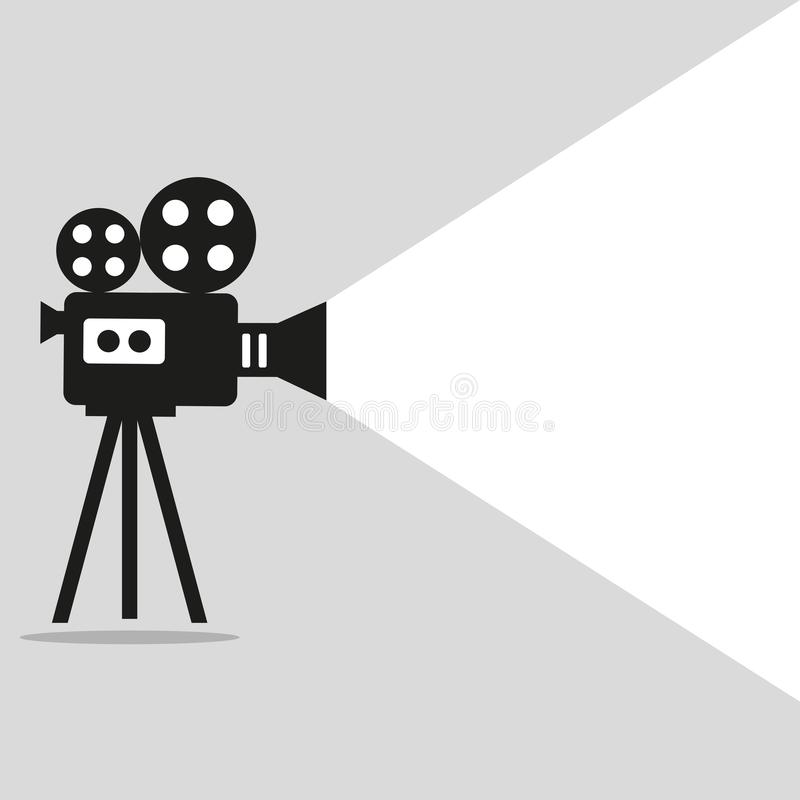 Retro movie projector poster. Video camera on a tripod on a gray background vector illustration