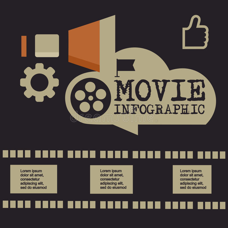 Retro movie template, media player, flat design, illustration, modern style, , concept, icons,digital, online, advertising royalty free illustration