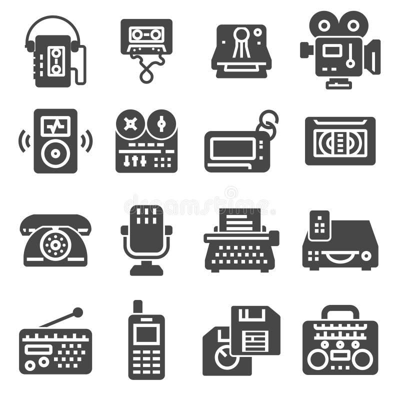 Retro multimedialne płaskie proste szare ikony ustawiać royalty ilustracja