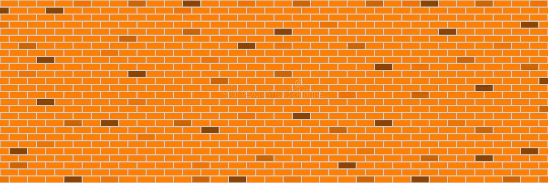 retro muro di mattoni arancio orizzontale per il modello ed il fondo, VE royalty illustrazione gratis
