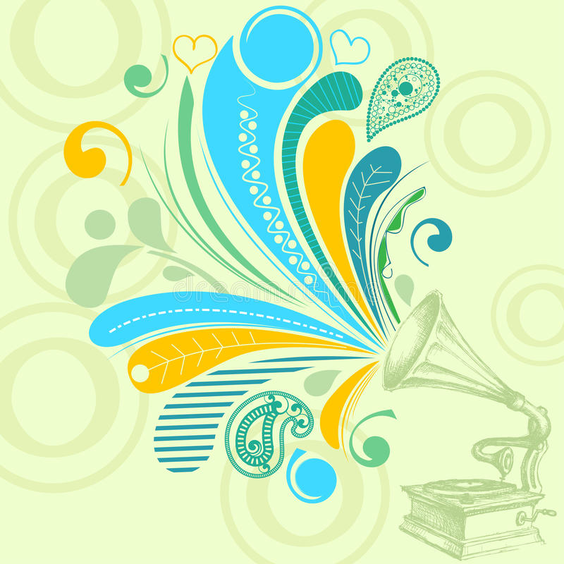 Retro music background. Retro music concept; a gramophone with nostalgic tunes vector illustration