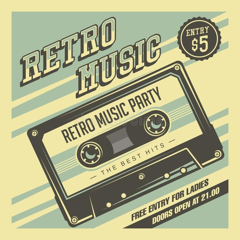 Retro Music Compact Cassette Vintage Signage Poster Vector. Graphic royalty free illustration