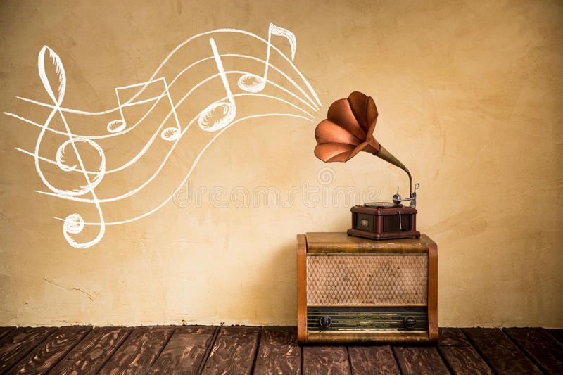 Retro music concept. Vintage radio and gramophone. Retro music concept
