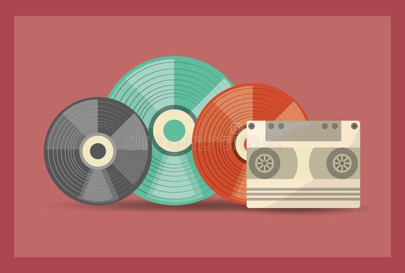 Retro music design. With colorful vinyl disks and cassette over red background, vector illustration stock illustration