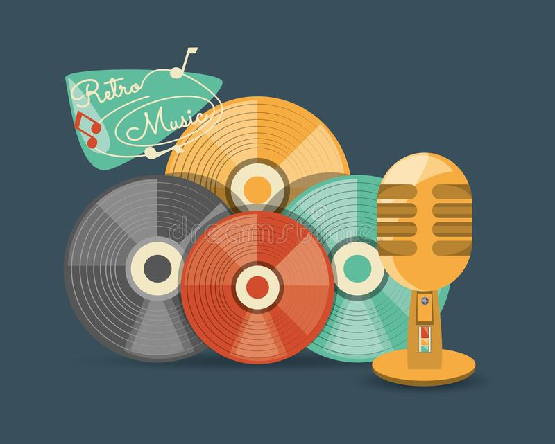 Retro music design. With colorful vinyl disks and microphone over blue background, vector illustration vector illustration