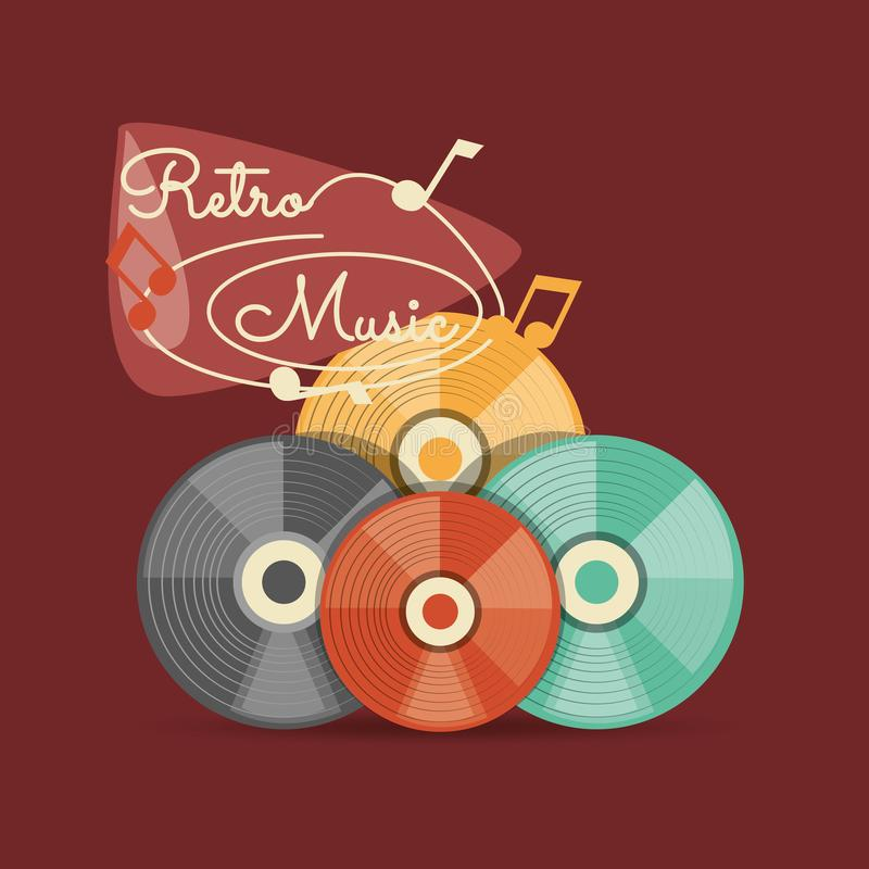 Retro music design. With colorful vinyl disks over red background, vector illustration stock illustration