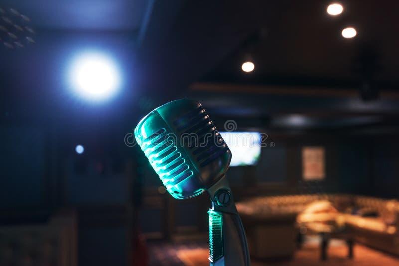 Retro music microphone stock image