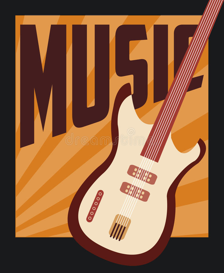 Retro music, poster design, vector illustration stock illustration